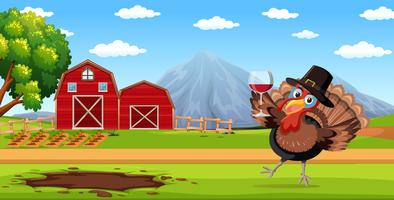 Turkey holding wine glass in farm scene