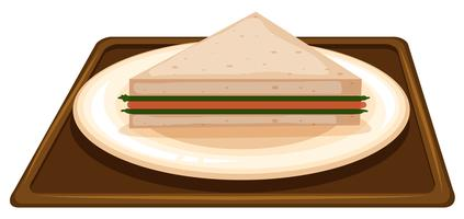 Sandwich on plate scene vector