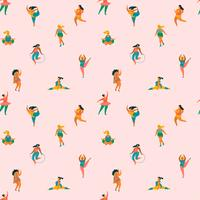 Happy plus size girls and active lifestyle. Vector seamless pattern.