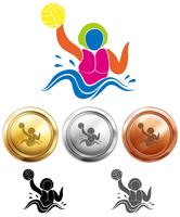 Water polo icon and sport medals