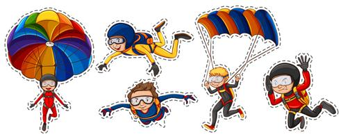 Sticker set with people playing air sports
