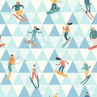 Ilustración vectorial de esquiadores y snowboarders. Patrón sin costuras