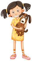 Girl hugging brown dog
