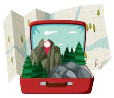 Nature forest in the suitcase vector