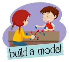 Wordcard para construir um modelo com dois alunos construindo modelos