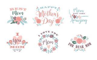 Feliz día de la madre. Emblemas de vectores