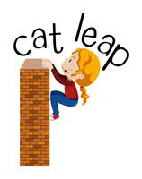 Cat Leap Exercise on White Background vector