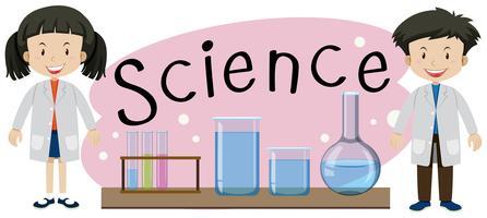 Kinder mit Wissenschaftswortillustation