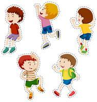 Conjunto de adesivos de meninos felizes