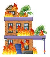 Modern house on fire