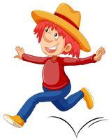Mann mit einem Cowboyhut läuft