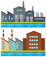 Factory buildings with tall chimneys
