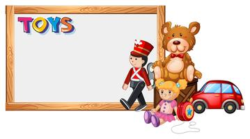 Board template with cute toys