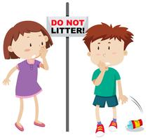 Do not litter scene vector