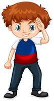 Jongen draagt blauw en rood shirt