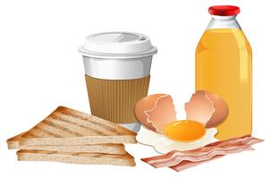Breakfast set with break and juice vector