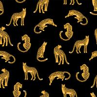 Seamless exotic pattern with abstract silhouettes of leopards.