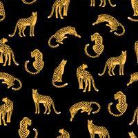 Sem costura padrão exótico com silhuetas abstratas de leopardos.