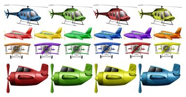 Different kinds of helicopter and planes