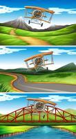 Trois scènes d'avions volant dans le ciel