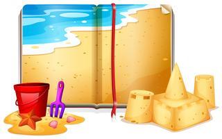Livro com cena de praia