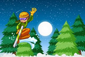 Boy snowboarding night time scene vector