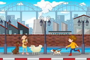 Kinder und Haustiere städtische Szene