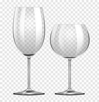 Zwei verschiedene Arten von Weingläsern