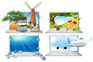 En uppsättning bärbar dator