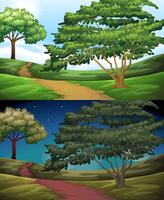 Nature scene of the countryside at day and night