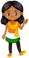 Indian girl wearing shirt with color of the flag