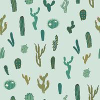 Padrão sem emenda de vetor com cactus. Textura repetida com cactos verdes.