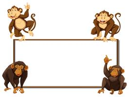 Border template with four monkeys