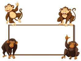 Modèle de bordure avec quatre singes