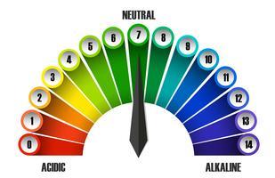Eine pH-Skala auf weißem Hintergrund