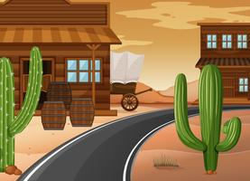 Western town with buildings and cactus