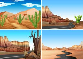 Four desert scenes with empty roads