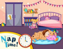 Young girl nap time scene