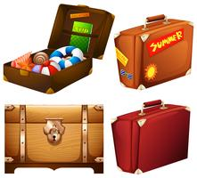 Set of different suitcases