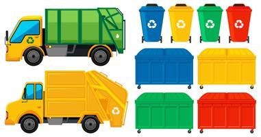 Camiones de basura y latas en muchos colores.