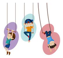 Three kids on hand swings