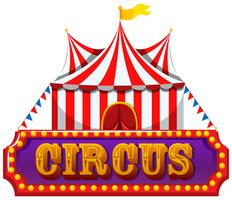 En cirkusbanner på vit bakgrund