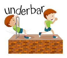 Kids playing underbar scene illustration