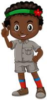 African american boy pointing finger vector