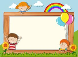 A wooden board with playful children vector