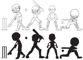 Ensemble de personnage de joueur de cricket