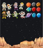 Astronaunts et différentes planètes dans l'univers