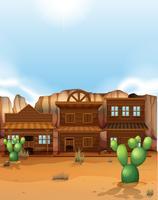 Woestijnscène met westerse stijl gebouwen
