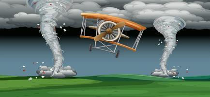 Vliegtuig die in slecht weer vliegen