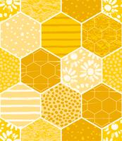 Seamless geometric pattern with honeycomb. Trendy hand drawn textures. vector